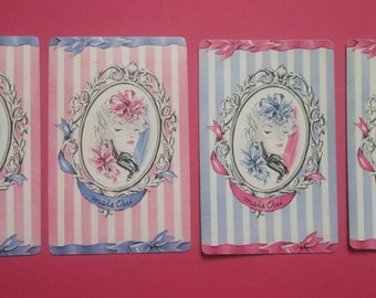 4 vintage playing cards pink/blue stripe lady (E2-205-1)