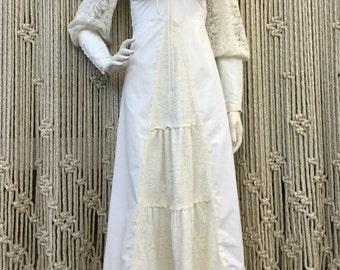 Incredible 1970's white Gunne Sax bohemian maxi dress