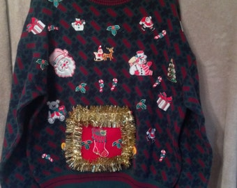 Men's Ugly Christmas Sweater L Tacky Sweater Party Hand Made Sweater with Bottle Pouch Upcycled Sweater Beer Pouch