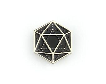 "D20 Icosahedron - 1"" Soft Enamel Pin"