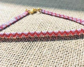Purple and red beaded anklet / Beaded anklet / Anklet / Peyote Stitch Anklet / Womens Anklet / Purple Anklet / Ankle Bracelet / Beaded