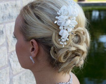 Ivory ribbon rhinestone wedding hair flower clip, wedding hair accessories, wedding flower comb, flower comb, Valeria Ivory Wedding Clip
