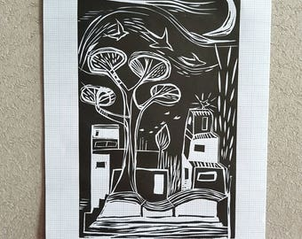 In the valley, lino print, monochrome, black and white, graph paper, wall art, linoprint, gift art, black ink, houses, town, calderdale art