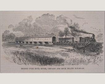 Illinois – Rock River Bridge – Rock River Railroad - 1876