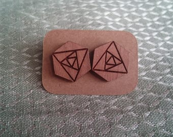 Geometric, rose earrings, laser cut wood