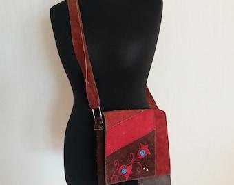 Vintage Seude Leather Boho Hipi Shivering Bag