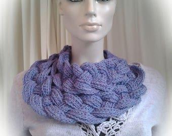 Lavender Crochet Cowl Scarf