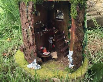 hand made fairy house with solar light