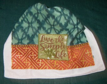 """Crochet hanging towel, """"Live The Simple Life"""", Green top"""