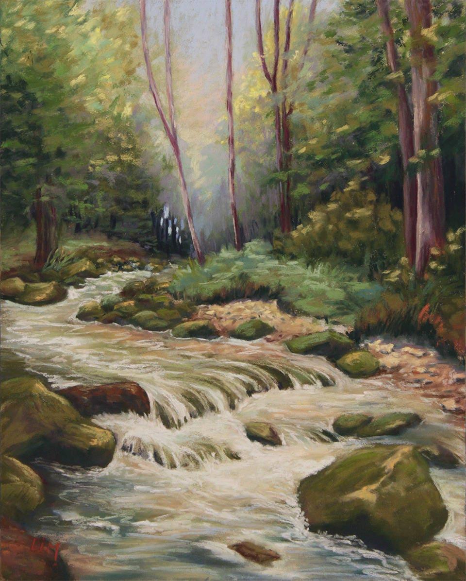 Peinture d 39 une rivi re au pastel sec paysage de sous bois - Peinture au pastel sec ...
