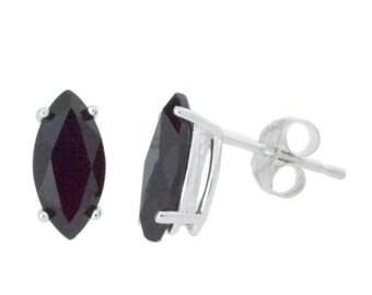 2 Ct Genuine Black Onyx Marquise Stud Earrings .925 Sterling Silver