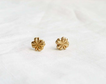Teeny Tiny Gold Clover Earrings. St Patrick's Day. Small Quatrefoil Lucky Clover. Simple Modern Jewelry by PetitBlue