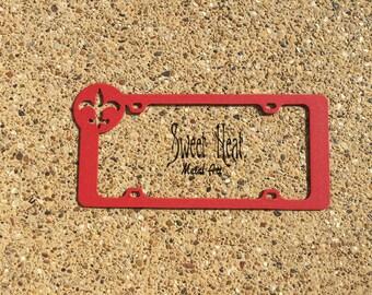 Fleur De Lis  RED license plate frame