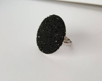 Black swarovski ring