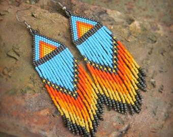 Seed bead fringe earrings Hippie earrings Large ethnic earrings Boho seed bead jewelry Long beaded earrings Colorful earrings gift for women