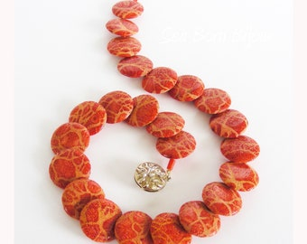 Genuine Orange Coral Choker Necklace & Gold Plated Sterling Silver Red Coral Jewelry Earrings and Necklace Coral Jewelry with Gift Box