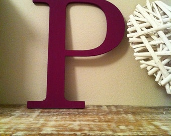"""Decorative Wooden Wall Letter 'P' - Any Colour - Plain Finish - Roman Style - 10"""""""