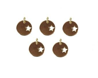 10% off Gold Round Star Charm-- Tiny Gold Vermeil Round Star Charm (LA-133)