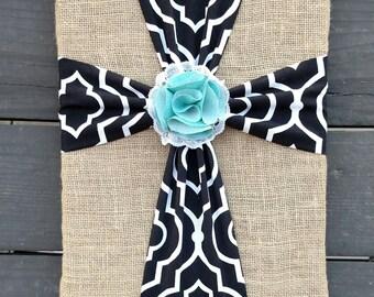 Fabric Cross Wall Art, Cross Decor, Burlap Fabric Cross