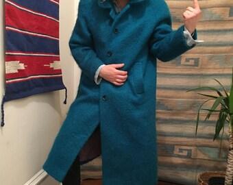Vintage long aqua fur coat