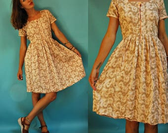 1960s / 70s Pale Peachy Pink Embroidered Dress