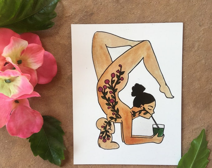 "JUICE Magnet/ 4"" x 5""/ Fridge magnet/ vegan art / breastfeeding art/ gift for mom"
