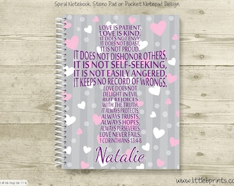 Love is Patient 1 Corinthians 13 Personalized Spiral Notebook Journal Prayer Journal Diary