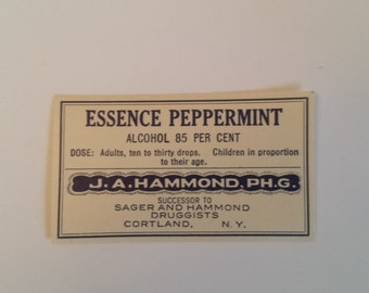 Antique Pharmacy Label, Essence Peppermint Apothecary Label, J. A. Hammond PH. G Peppermint Label, Vintage Pharmacy Label for Bottles
