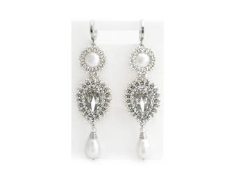 Sivler beadwork earrings with Swarovski crystals and imitated pearls