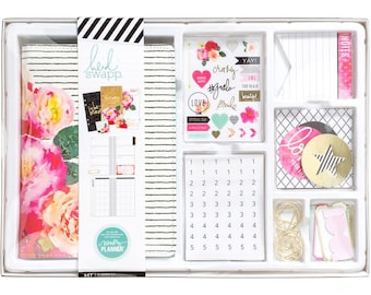 Clearance! 2017 Heidi Swapp Memory Personal Planner Box Kit - 12-Month Non-dated Floral Planner Kit/Paper Clips/Note Pads/Stickers