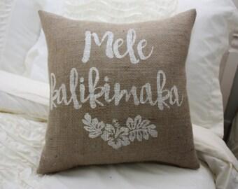 Burlap Pillow / Christmas Pillow / Mele Kalikimaka