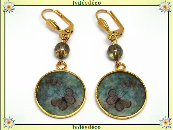 Earrings Butterfly brass gold 24 k green brown resin beads resin gift birthday mother's day wedding thank you teacher