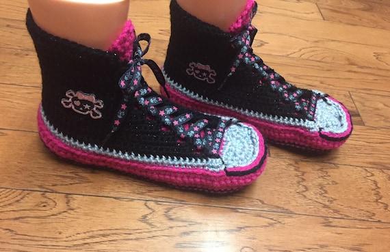 slippers skull pink Womens 205 tennis slippers skull sneaker shoe high pink 8 sneakers black black 10 slippers Listing skull top Crocheted w6gqxvvX