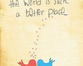 Baby Nursery Wall Art - 8x10 Illustration Art Print - Better Place - Love, Couple, Nursery, Bird, Baby, Nursery Decor