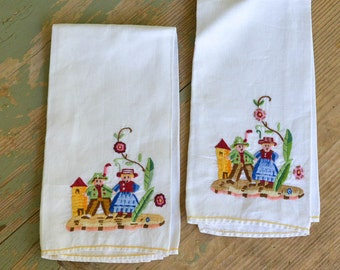 Embroidered Dish Towels Vintage Linens