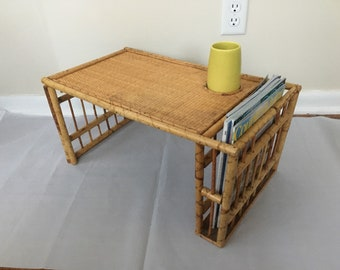 Boho Vintage Bamboo Breakfast in Bed Serving Lap Tray with Drink and Magazine Holder