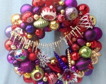 Vintage Christmas ornament wreath in spectacular JEWEL TONES.