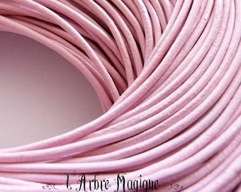 Pink leather cord 2 mm for bracelet necklace sold by the yard