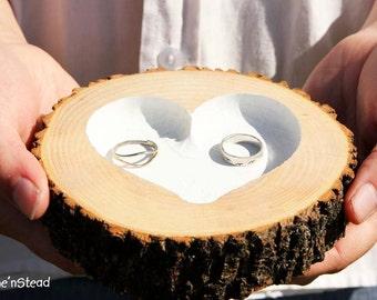 Rustic Wedding Ring Bearer Pillow Log Ring Dish Engraved Heart