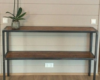 Steel side table with aged wood