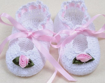 Handmade Cotton Baby Booties with Pink Rosette and Tie