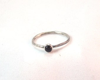Black Onyx Ring, Narrow Ring, Onyx Ring, Onyx stacking ring, SIlver Stacking Ring, Handmade onyx ring, Narrow Stacking Ring