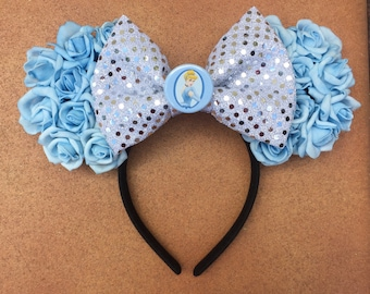 Cinderella Inspired Baby Blue Rose Floral Minnie Ears