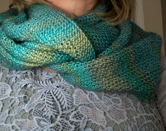 Hand Knitted Infinity Scarf by BritKnitWits - Turquoise variations    Free shipping