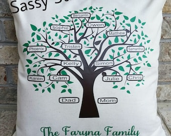 Family tree pillow, pillow cover, family pillow, anniversary gifts, home decor, personalized pillow, personalized items, personalized gifts