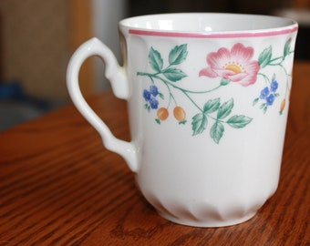 "Churchill Staffordshire China "" Briar Rose Pattern"" Mug made in England"