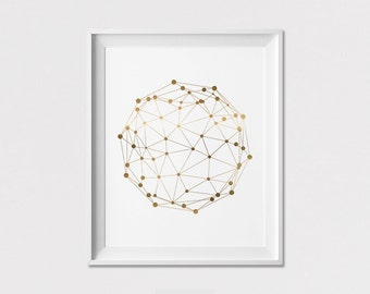 Geometric Print, Circle gold print, Poster, Faux Gold, Wall Art, Wall decor, Minimalist art, Home Decor, ArtFilesVicky