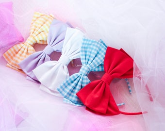 Headbow lolita pastel | pastel pink blue green lilac black white yellow and gingham