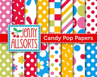 Candy Pop Digital Scrapbook Paper - Bright Primary Color Designs for invitations, card making, digital scrapbooking - Instant Download