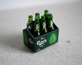 Dollhouse Beer set of 6 bottles , miniature beer dollhouse alcoholic beverage set with carrier mini beer bottles